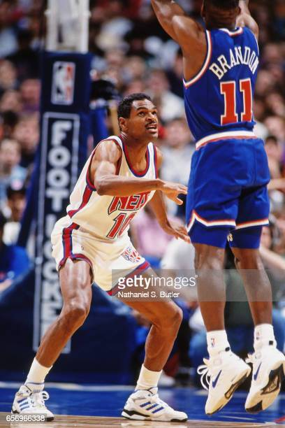 Maurice Cheeks of the New Jersey Nets defends against the Cleveland Cavaliers circa 1993 at the Contintental Airlines Arena in East Rutherford New...
