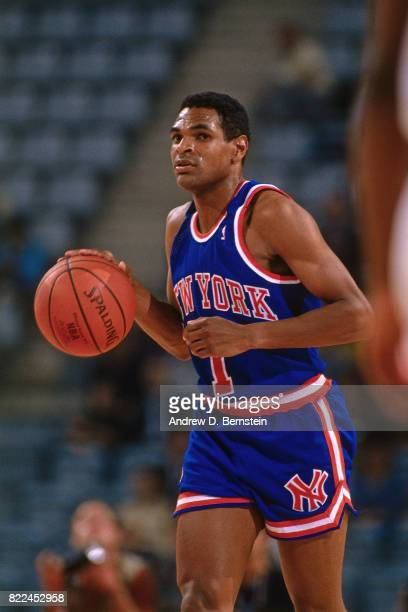 Maurice Cheeks of the New York Knicks dribbles the ball up court during the 1990 McDonald's Open against Scavolini Pesaro at Palau Sant Jordi on...