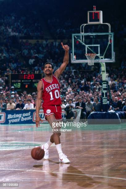 Maurice Cheeks of the Philadelphia 76ers dribbles against the Boston Celtics during a game played in 1985 at the Boston Garden in Boston...