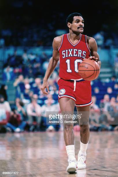 Maurice Cheeks of the Philadelphia 76ers dribbles against the Los Angeles Lakers circa 1985 at the Great Western Forum in Inglewood California NOTE...