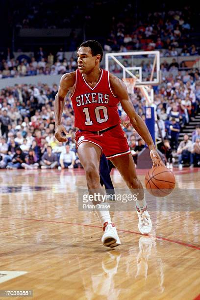 Maurice Cheeks of the Philadelphia 76ers dribbles during a game played in 1986 at the Veterans Memorial Coliseum in Portland Oregon NOTE TO USER User...