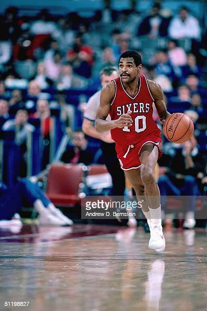 Maurice Cheeks of the Philadelphia 76ers drives the ball up court during an NBA game in 1985 NOTE TO USER User expressly acknowledges and agrees that...