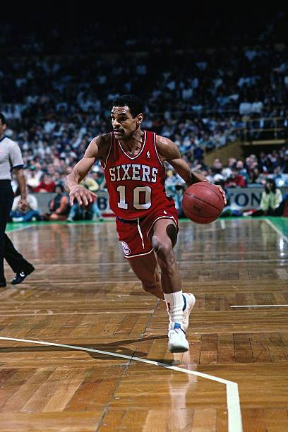 BOSTON - 1988  Maurice Cheeks  10 of the Philadelphia 76ers drives to the  basket against the Boston Celtics during a game played in 1988 at the  Boston ... 6cb700ae2