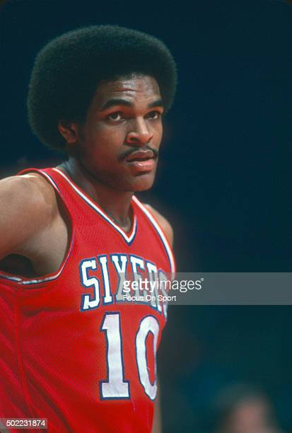 Maurice Cheeks of the Philadelphia 76ers looks on against the Washington Bullets during an NBA basketball game circa 1978 at the Capital Centre in...