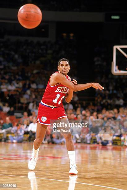 Maurice Cheeks of the Philadelphia 76ers passes the ball during the 19881989 NBA season