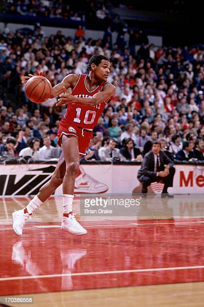 Maurice Cheeks of the Philadelphia 76ers receives an inbounds pass during a game played in 1986 at the Veterans Memorial Coliseum in Portland Oregon...