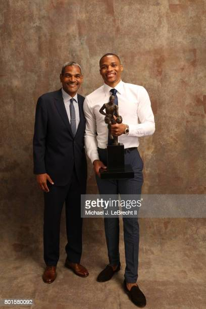 Maurice Cheeks poses with Russell Westbrook of the Oklahoma City Thunder after receiving the Kia NBA Most Valuable Player Award at the NBA Awards...