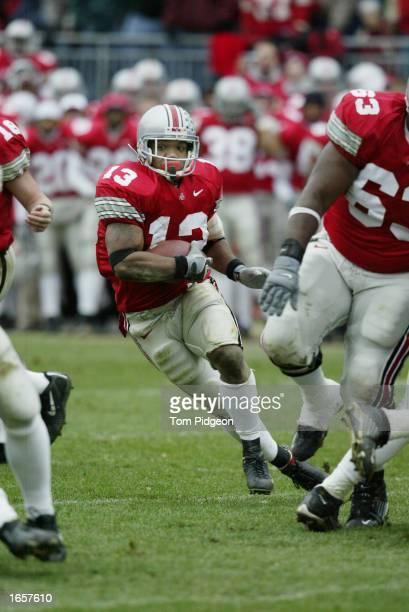 Maurice Clarett of Ohio State runs against Michigan on November 23 2002 at Ohio Stadium in Columbus Ohio Ohio State won the game 149