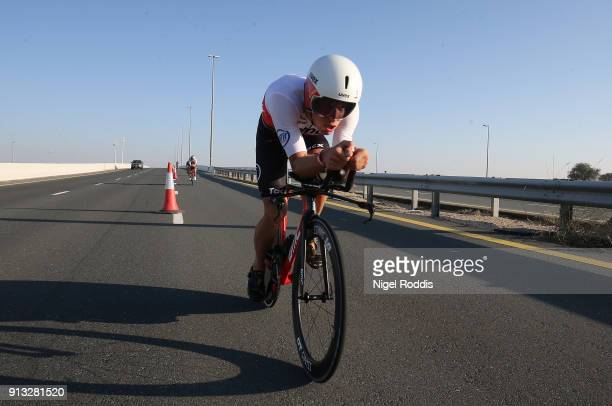 Maurice Clavel of Germany competes in the bike section of Ironman 703 Dubai on February 2 2018 in Dubai United Arab Emirates