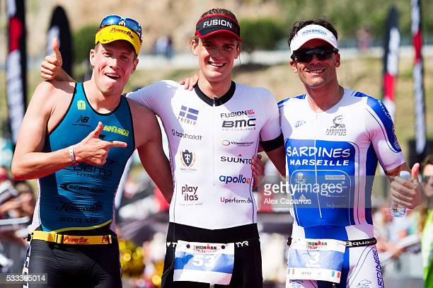 Maurice Clavel of Germany in 2nd place Patrik Nilsson of Sweden in 1st place and Sylvain Sudrie of France in 3rd place celebrate their results after...
