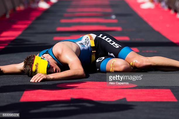 Maurice Clavel of Germany lies on the ground after finishing Ironman 703 Barcelona race in 2nd place on May 22 2016 in Barcelona Spain