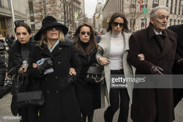 Maurice Cohen father of President Donald Trump's former personal lawyer Michael Cohen right exits federal court with family members in New York US on...