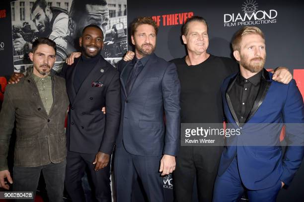 Maurice Compte Mo McRae Gerard Butler Brian Van Holt and Kaiwi LymanMersereau attend the premiere of STX Films' 'Den of Thieves' at Regal LA Live...