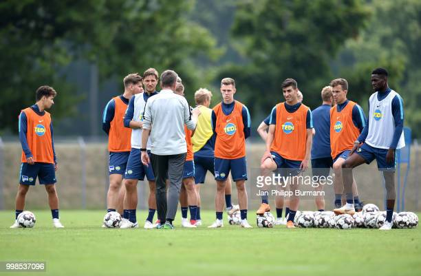 Maurice Covic Niklas Stark Julius Kade Muhammed Kiprit Maximilian Pronichev and Jordan Torunarigha of Hertha BSC during the training camp at...