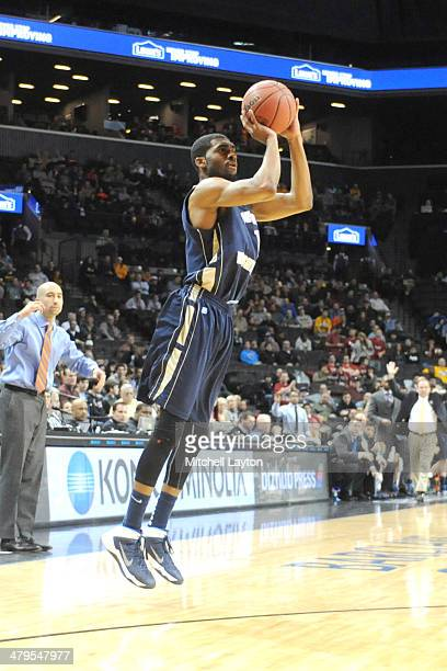 Maurice Creek of the George Washington Colonials takes a jump shot during the Atlantic10 Men's Basketball Tournament Semifinal college basketball...