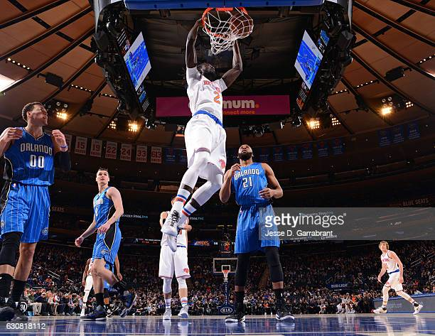 Maurice Daly Ndour of the New York Knicks dunks the ball against the Orlando Magic at Madison Square Garden on January 2 2017 in New YorkNew York...