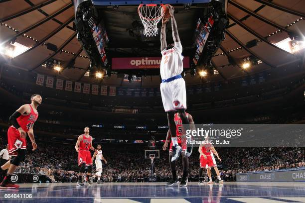 Maurice Daly Ndour of the New York Knicks goes up for a dunk against the Chicago Bulls on April 4 2017 at Madison Square Garden in New York City New...