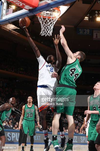 Maurice Daly Ndour of the New York Knicks goes up for a lay up during a game against the Boston Celtics on April 2 2017 at Madison Square Garden in...