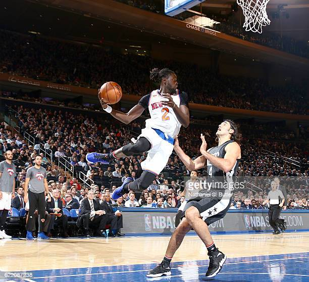 Maurice Daly Ndour of the New York Knicks looks to pass the ball against the Brooklyn Nets on November 9 2016 at Madison Square Garden in New York...