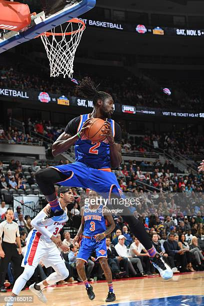 Maurice Daly Ndour of the New York Knicks rebounds against the Detroit Pistons on November 1 2016 at The Palace of Auburn Hills in Auburn Hills...