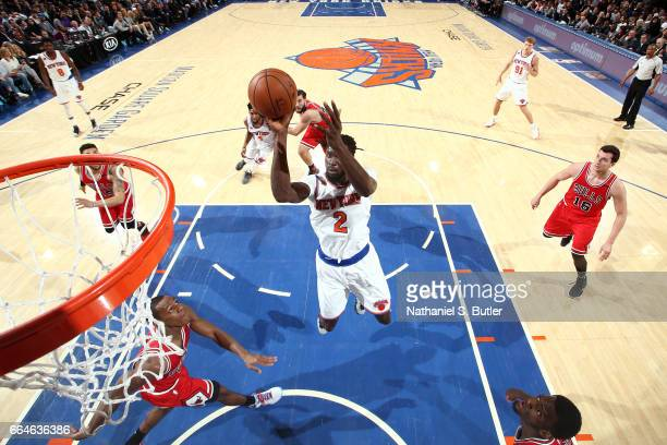 Maurice Daly Ndour of the New York Knicks shoots the ball against the Chicago Bulls on April 4 2017 at Madison Square Garden in New York City New...