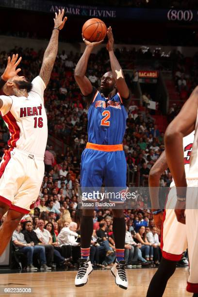 Maurice Daly Ndour of the New York Knicks shoots the ball during the game against the Miami Heat on March 31 2017 at AmericanAirlines Arena in Miami...