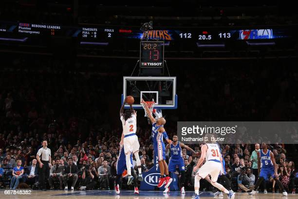 Maurice Daly Ndour of the New York Knicks shoots the game winning basket during the game against the Philadelphia 76ers on April 12 2017 at Madison...