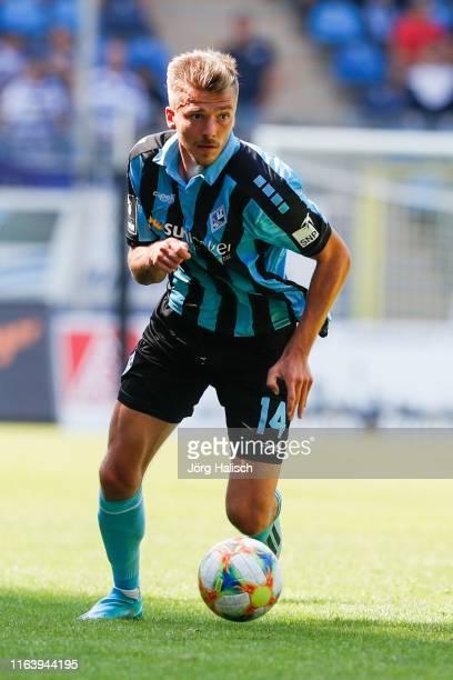 Maurice Deville of Waldhof Mannheim during the 3. Liga match between SV Waldhof Mannheim and MSV Duisburg at Carl-Benz-Stadium on August 25, 2019 in...