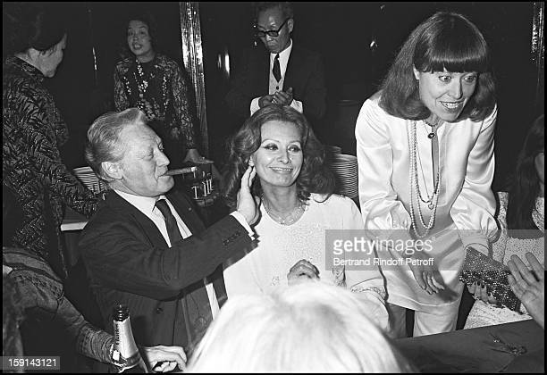 Maurice Druon and Sophia Loren attend Mei Chen Chalais birthday party in 1977