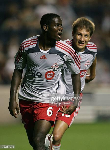Maurice Edu and Chris Pozniak of Toronto FC celebrate Edu's goal against the Chicago Fire on July 7 2007 at Toyota Park in Bridgeview Illinois...