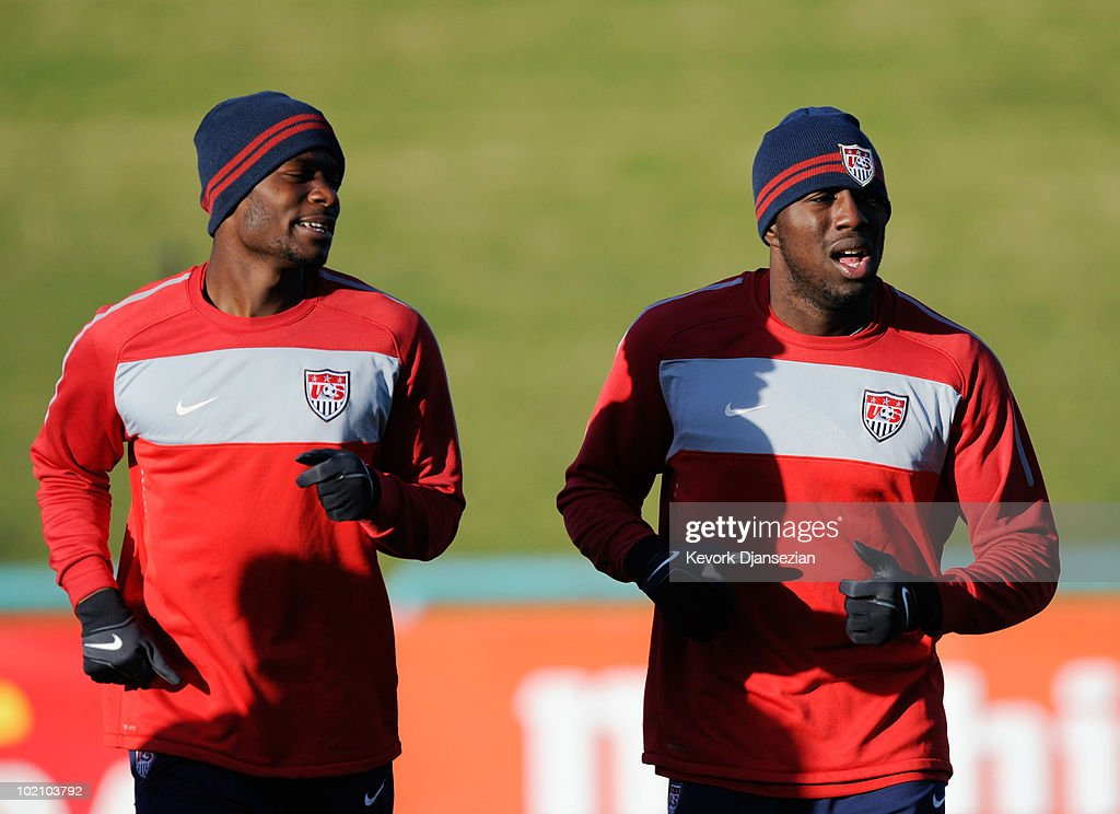 Maurice Edu (L) and Jozy Altidore of US national football team sprint during training session on June 15, 2010 in Pretoria, South Africa. US will play their next World Cup Group C match against Slovenia on Friday June 18, 2010.