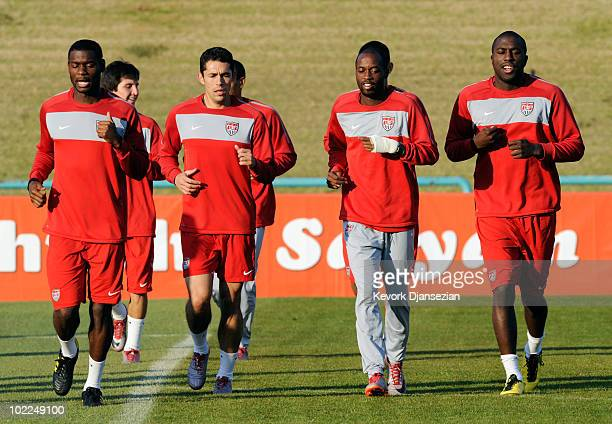Maurice Edu, Herculez Gomez, DeMarcus Beasley and Jozy Altidore of US national football team sprint with during training session at Pilditch Stadium...