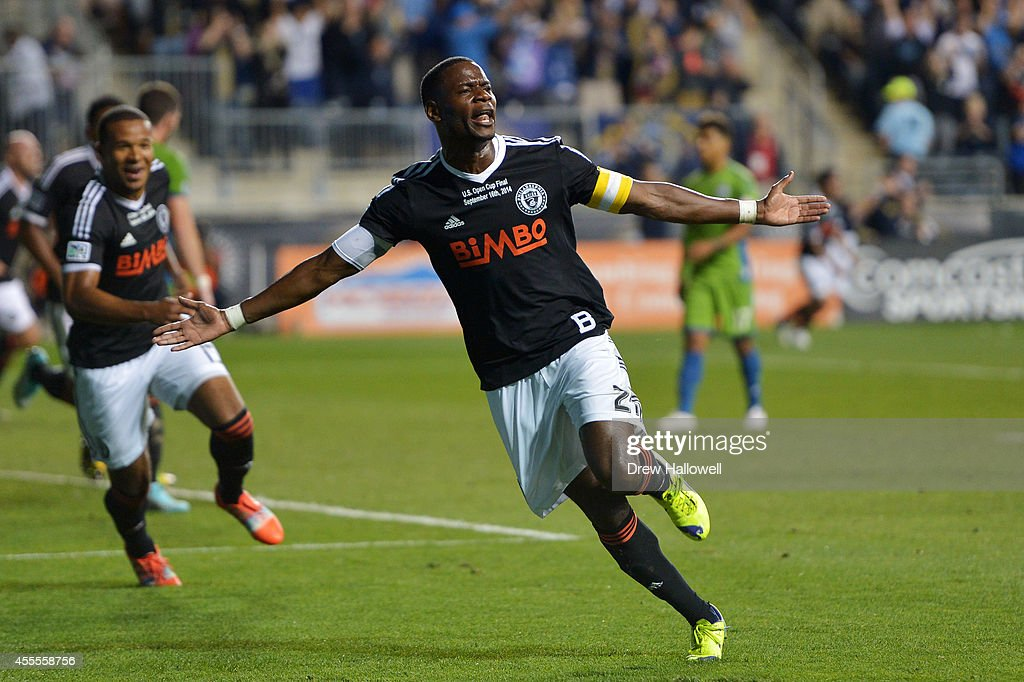Maurice Edu #21 of the Philadelphia Union celebrates a goal in the first half against the Seattle Sounders FC during the 2014 U.S. Open Cup Final at PPL Park on September 16, 2014 in Chester, Pennsylvania.