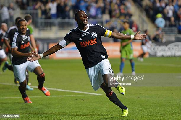 Maurice Edu of the Philadelphia Union celebrates a goal in the first half against the Seattle Sounders FC during the 2014 US Open Cup Final at PPL...