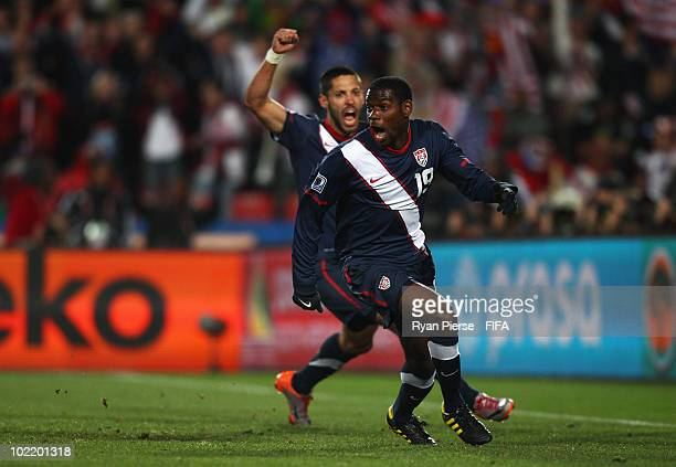 Maurice Edu of the United States celebrates before realising that his goal is disallowed during the 2010 FIFA World Cup South Africa Group C match...