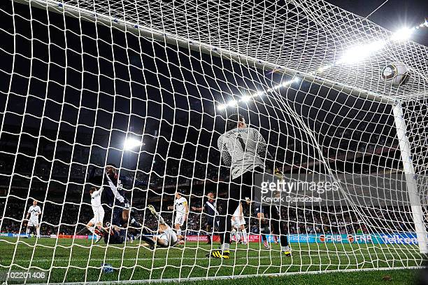 Maurice Edu of the United States puts the ball into the net but the goal is disallowed during the 2010 FIFA World Cup South Africa Group C match...