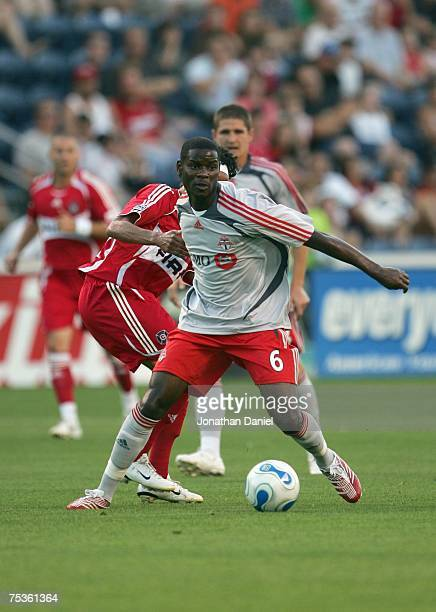 Maurice Edu of Toronto FC looks to make a play against the Chicago Fire during the MLS match on July 7 2007 at Toyota Park in Bridgeview Illinois...
