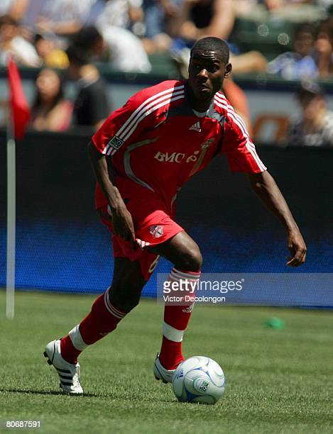 Maurice Edu of Toronto FC plays the ball on the left wing against the Los Angeles Galaxy in the first half during their MLS game at the Home Depot...