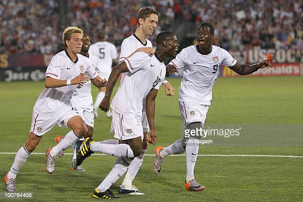 Maurice Edu the US celebrates his goal with Eddie Johnson during action against the Czech Republic at Rentschler Field on May 25 2010 in East...