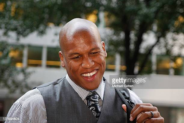 Maurice Evans arrives to NBA labor negotiations at The Waldorf Astoria September 30 2011 in New York City
