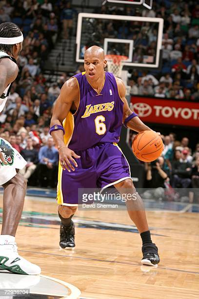 Maurice Evans of the Los Angeles Lakers moves the ball against the Minnesota Timberwolves on December 20 2006 at the Target Center in Minneapolis...