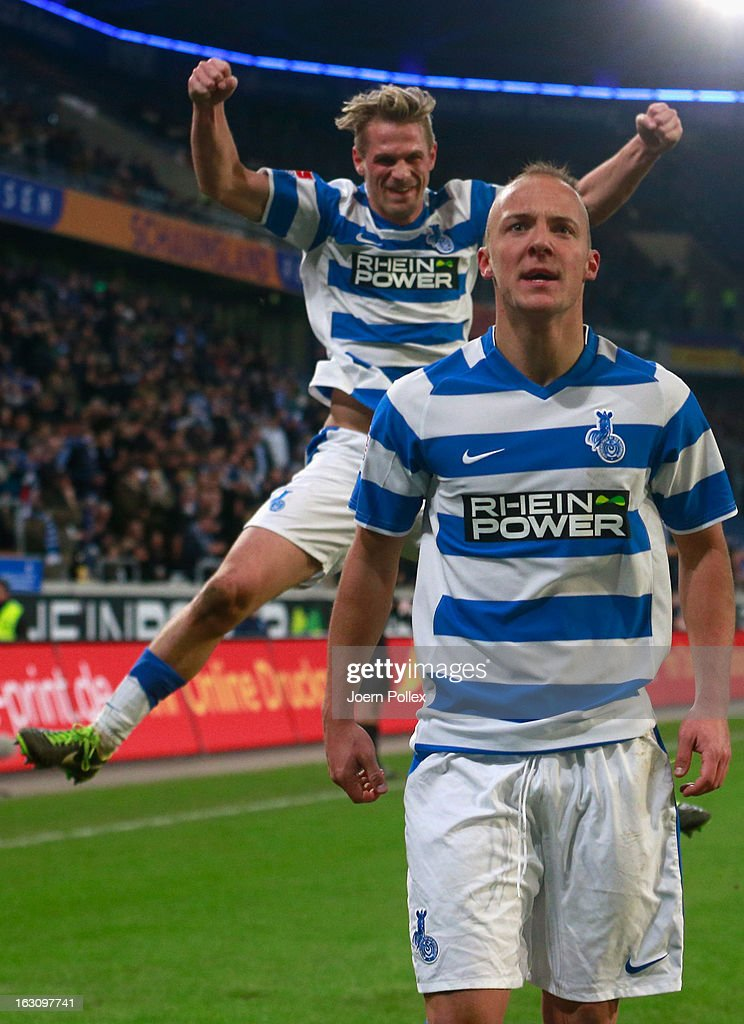 Maurice Exslager of Duisburg celebrates after scoring his team's first goal during the Second Bundesliga match between MSV Duisburg and Eintracht Braunschweig at Schauinsland-Reisen-Arena on March 4, 2013 in Duisburg, Germany.