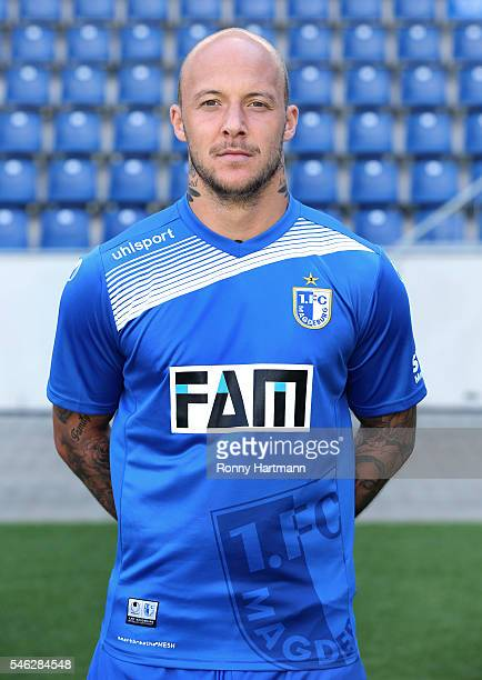 Maurice Exslager poses during the team presentation of 1 FC Magdeburg at MDCCArena on July 7 2016 in Magdeburg Germany Maurice Exslager