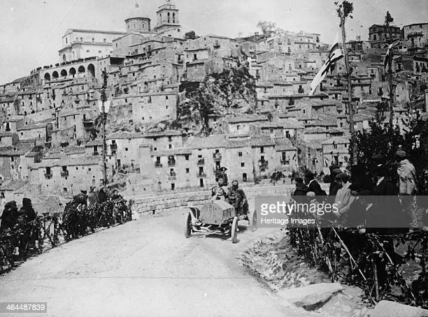 Maurice Fabry in an Itala in the Targa Florio race Sicily 1907 Taking a corner with the town of Petralia Sottana in the background He finished third