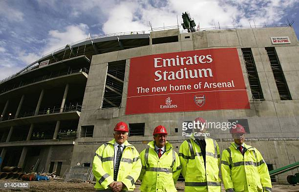 Maurice Flanagan vice chairman and group president of Emirates Airlines Arsenal Chairman Peter HillWood Arsenal Manager Arsene Wenger and Keith...
