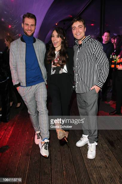Maurice Gajda and Julia Krueger and Philipp Isterewicz during the Bunte New Faces Award Style 2018 ceremony at Spindler Klatt on November 15 2018 in...
