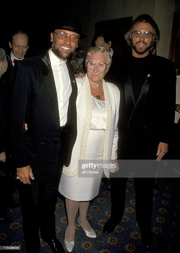 Maurice Gibb, Barry Gibb, and Mother during 25th Annual Songwriters Hall of Fame Awards Dinner and Ceremony at Sheraton Hotel in New York, New York, United States.