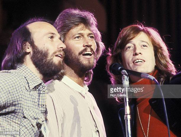 Maurice Gibb Barry Gibb and Robin Gibb attend the rehearsals for A Gift of Song UNICEF Concert on January 19 1979 at the United Nations in New York...