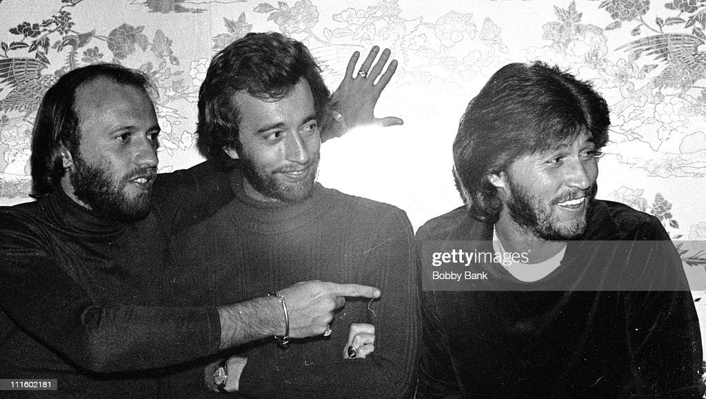 Maurice Gibb, Barry Gibb and Robin Gibb during Bee Gees Interview at the Plaza Hotel - October 12, 1977 at Plaza Hotel in New York City, New York, United States.