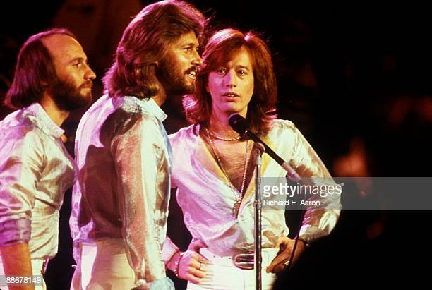 Maurice Gibb Barry Gibb and Robin Gibb of The Bee Gees perform on stage at the UNICEF A Gift of Song concert held at the United Nations General...